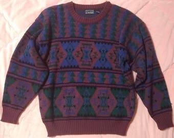 Vintage Fair Isle Knit Sweater, Vintage Fair Isle Southwestern Knit Sweater, Vintage Burgundy Knit Sweater