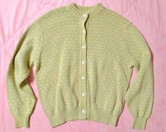 acd305606da Vintage LL Bean Beige Polka Dot Knit Cardigan Sweater
