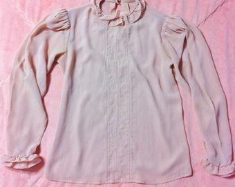 1970s Vintage Pink Blouse, 70s Vintage Sheer Pink Chiffon Blouse, Pink Vintage Blouse, 70s Vintage Blouse, Sheer Pink Blouse
