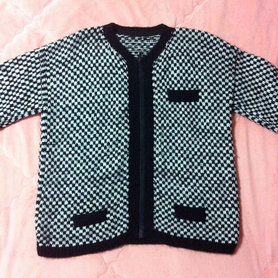 Vintage Black White Checkered Knit Sweater Cardigan Vintage Etsy