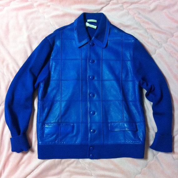 1980s Blue Leather Bomber Jacket, 80s Leather Bomb