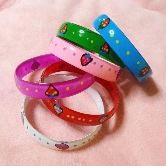 90s Vintage Bracelet, Strawberry Bracelet, Strawbe
