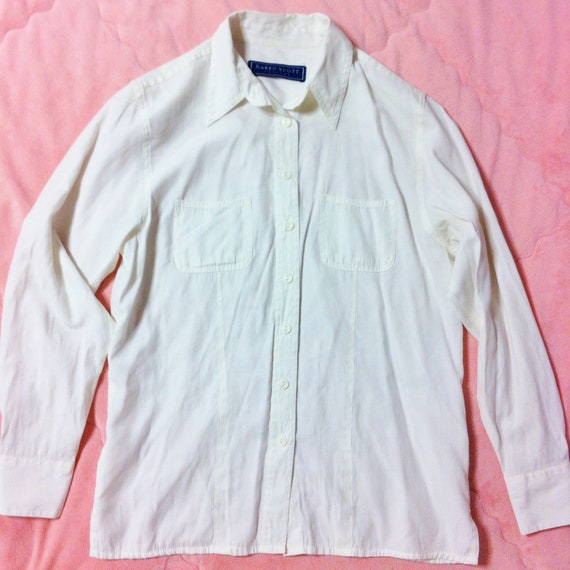 dfd5e1d21a 90s Vintage White Button Up Shirt 90s Vintage White Blouse