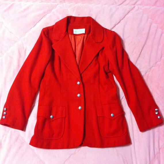 1970s Vintage Red Wool Coat, 70s Vintage ILGWU Red