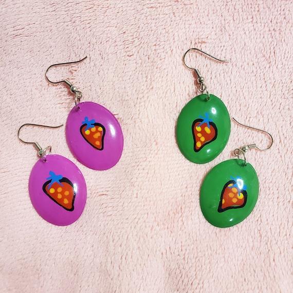 Strawberry Earrings, Strawberry Fruit Earrings, 90