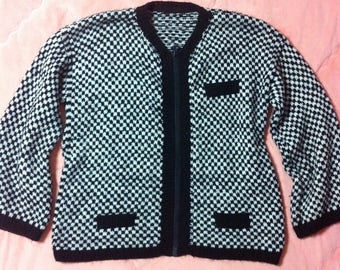 Vintage Black White Checkered Knit Sweater Cardigan, Vintage Black and White Checkered Zip Up Knit Cardigan Jacket