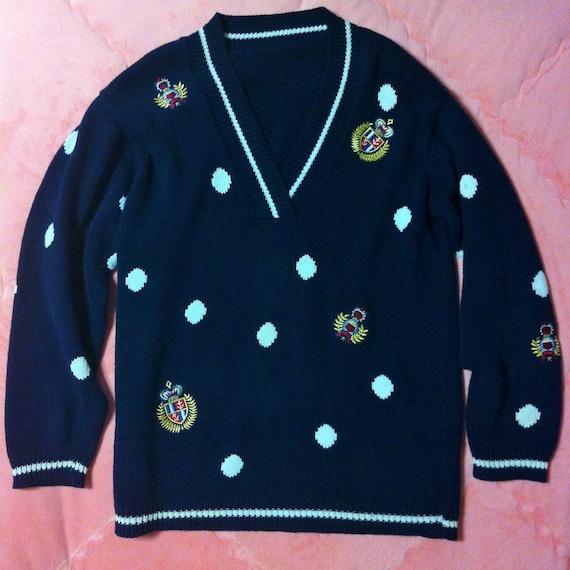 Vintage Navy Blue Knit Sweater, 90s Vintage Navy B