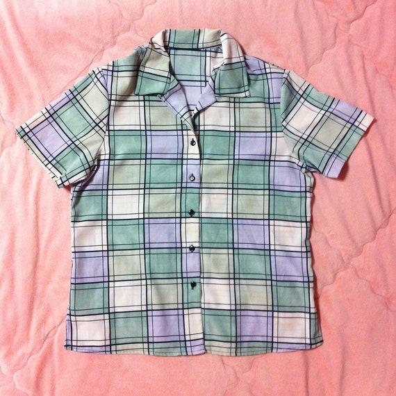 Vintage Pastel Blouse, Pastel Plaid Shirt Blouse,
