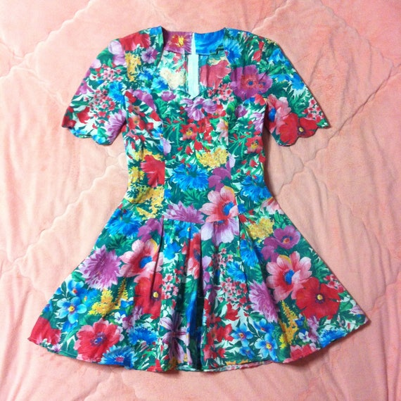 Vintage Colorful Rainbow Floral Dress, Vintage Flo