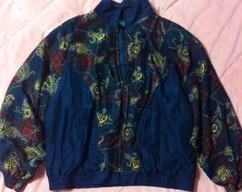 Vintage Navy Blue Printed Silk Bomber Jacket, Vintage Silk Scarf Print Bomber Jacket, Navy Blue Silk Bomber Jacket, Silk Bomber Jacket