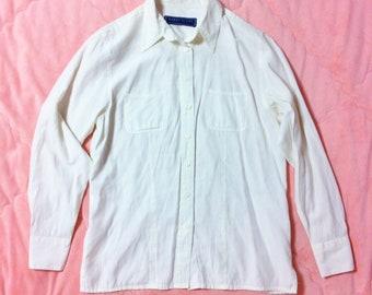 90s Vintage White Button Up Shirt, 90s Vintage White Blouse, Vintage White Button Up Blouse, White Blouse, 90s White Blouse Shirt