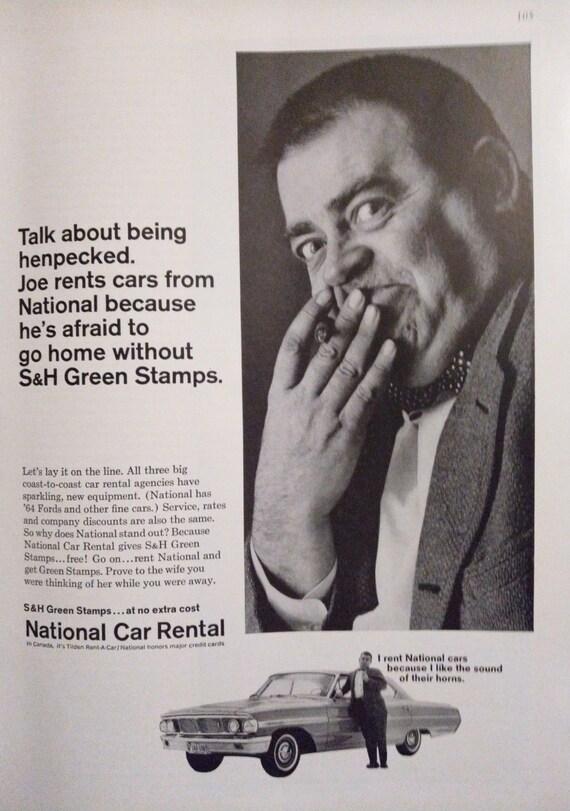 Items Similar To Vintage National Car Rental Advertisement Joe Is