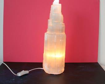 Selenite Crystal Tower Light