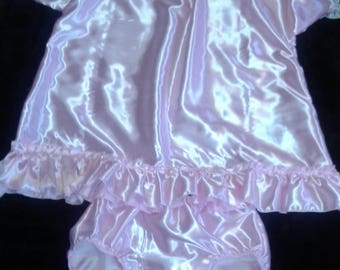 Adult Baby Sissy Pink Satin Dress and Diaper Cover Panties Crossdresser Cosplay Anime