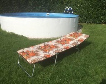 Vintage Sonnenliege Gästebett Poolliege Strandmatte Retro Liege