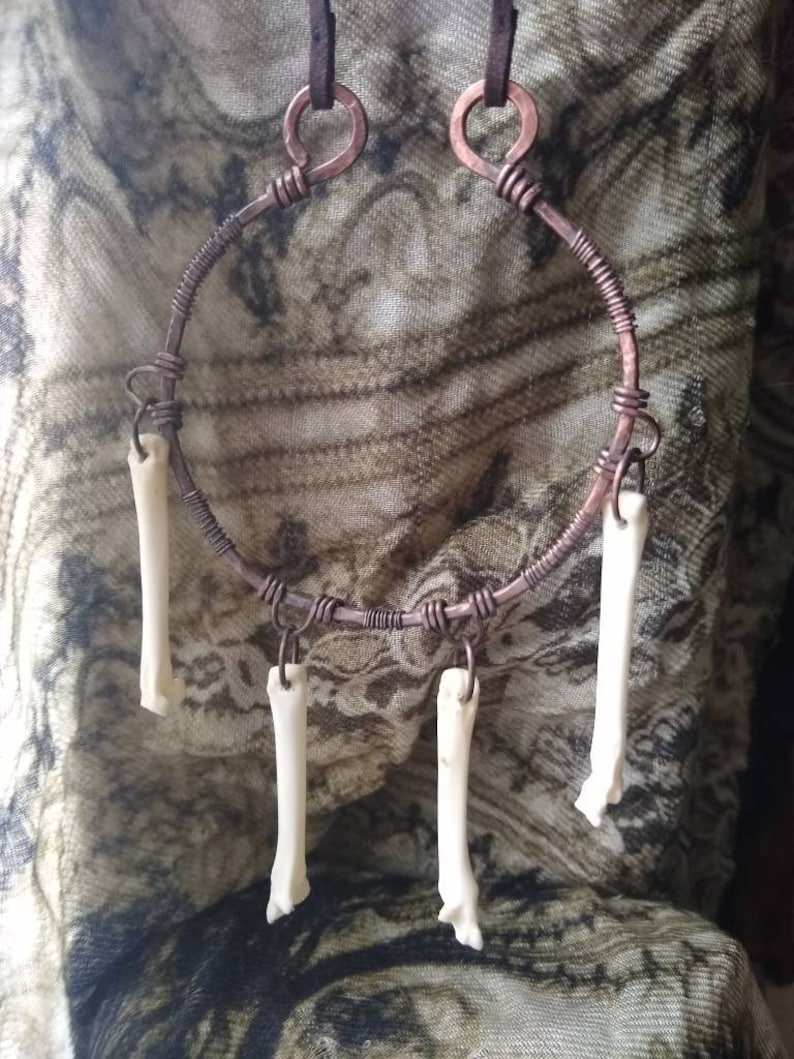 Ethically sourced found natural bone jewelry upcycled pure copper with patina vegan suede witch urban primitive primal necklace