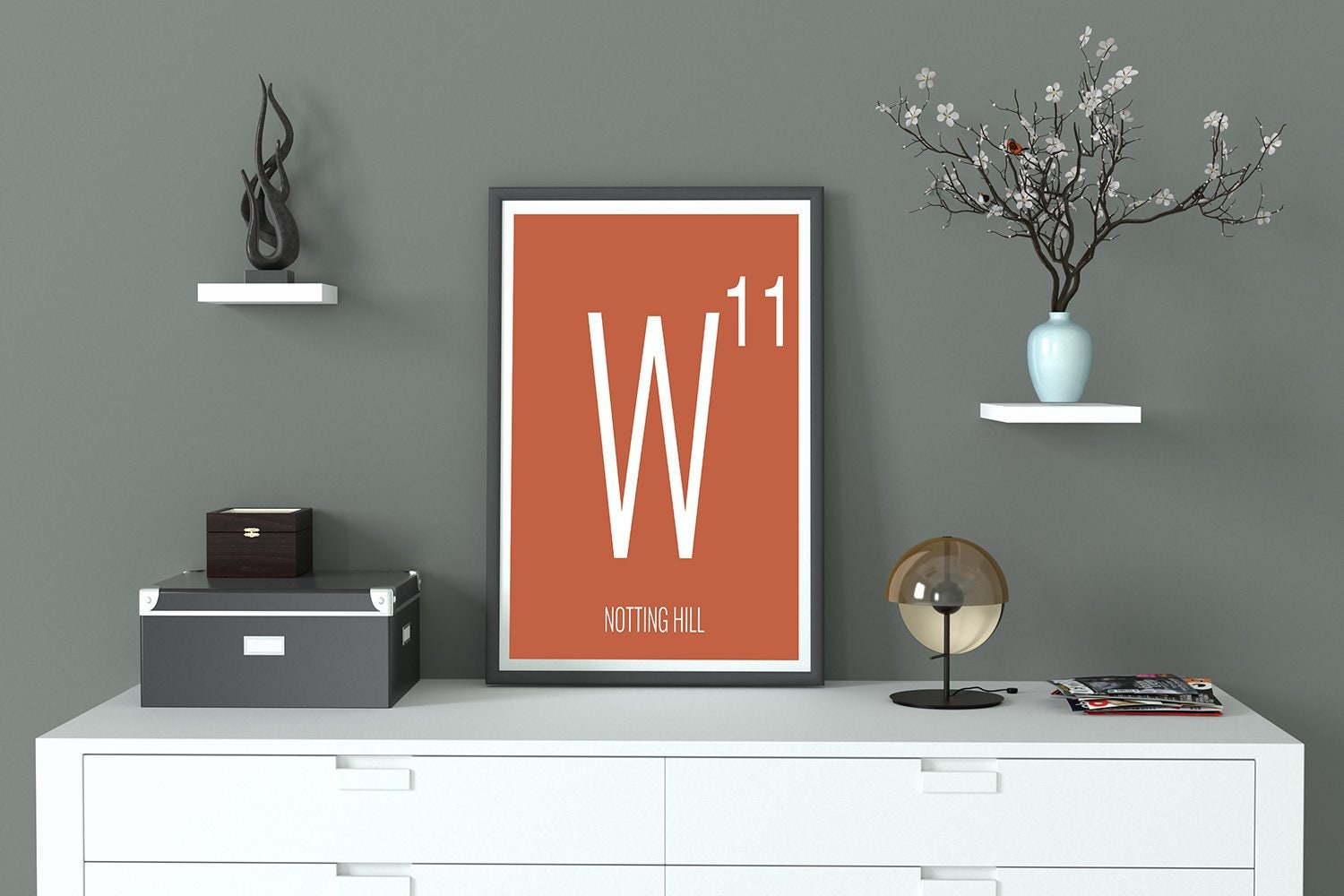 W11 Notting Hill art print Red, Postcode Art print, London W11 Postcode,  Minimal, London Underground Poster, Love Notting Hill