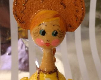Cute Traditional Russian Hand Made Painted Tverskoy Uzor Doll Made out of Linden Wood
