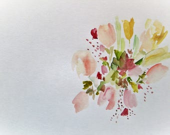 Flower Painting Abstract Painting Watercolor Flowers Floral Painting Original Watercolor Painting Pink Flowers