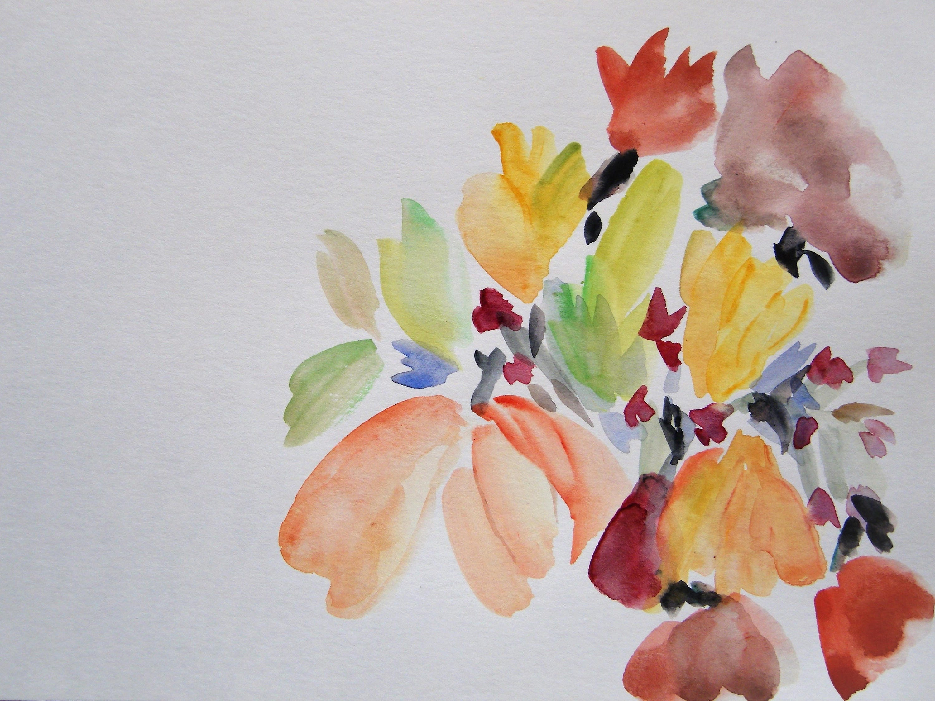 Floral Watercolor Painting Abstract Flower