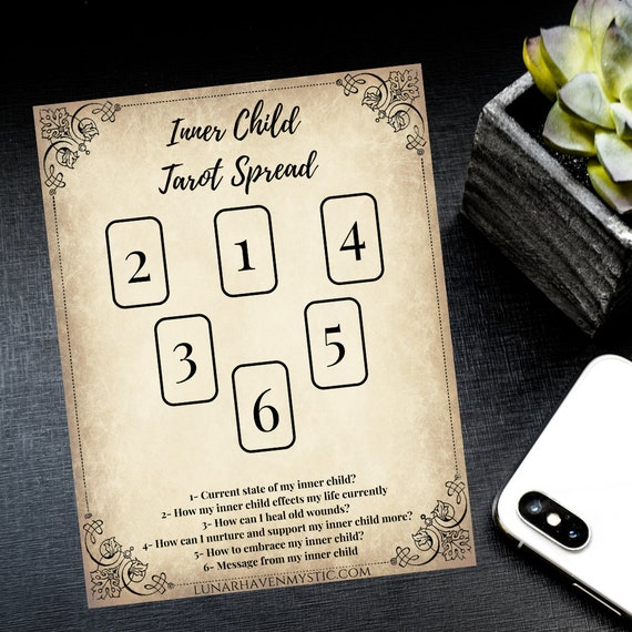 Printable Inner Child Tarot Spread Book of Shadow Pages Digital Download
