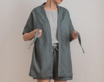 Short linen robe   Womens linen robe   Linen bathrobe   Linen sleepwear    Linen kimono robe   Linen loungewear   Spa robe   Morning gown 4bba174b4