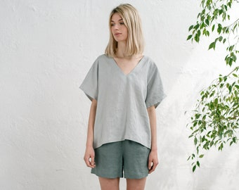 491a450f66 Linen v neck blouse / Oversized blouse / Linen loose top / Linen shorts  women/ Linen shorts set /Linen pj's/ ELSA v neck top and ELLA shorts