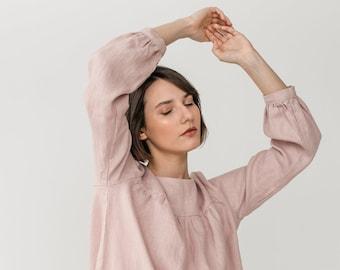Soft linen dress - Linen sleep dress - Flax dress - Romantic nightgown - Long sleeve dress - Nightwear - Linen sleepwear - MONA gather dress