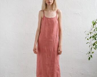 9aefb62fd8f9 Long linen dress / Camisole dress / Maxi linen dress/ Long slip dress/ Linen  nightgown/ Summer dress/ Strappy dress / ADELA long cami dress