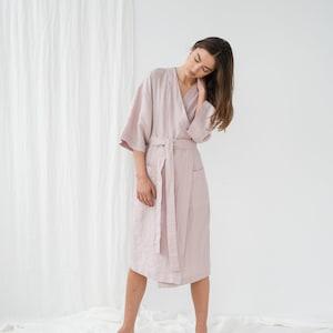 Linen bathrobe women Linen robe with pocket Linen kimono robe Linen spa robe Dressing gown Linen long robe Morning gown PETRA robe