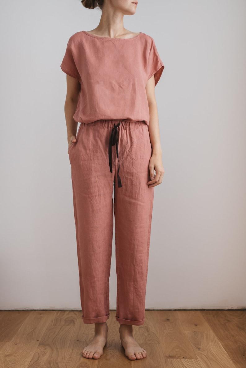cdc0576b11c7 Linen pajamas women   Linen pajama set   Pink pyjamas