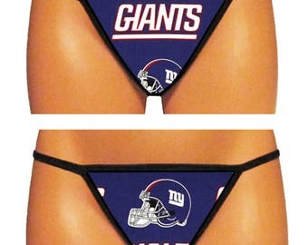 New York Giants Thong/G-String (Made From 100% Cotton Licensed NFL Fabric)