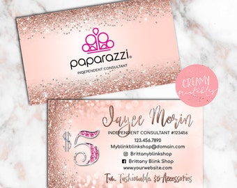 Printable Paparazzi Business Card, Paparazzi Jewelry Consultant Card, Rosegold Glitter , DIGITAL TEMPLATE