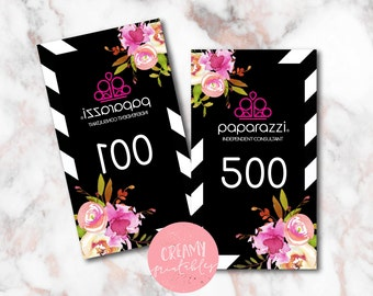 Printable Paparazzi numbers, Paparazzi Jewelry live sale numbers, Normal-Mirrored number tags, 001-500, Printable PDF, Flowers 2