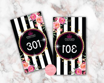 Printable Paparazzi numbers, Paparazzi Jewelry live sale numbers, Normal-Mirrored number tags, 001-500, Printable PDF, Stripe Flowers 11 -