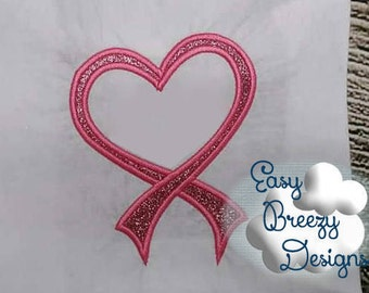 Awareness Ribbon Heart Frame Applique Embroidery Design, Cancer Ribbon Heart Embroidery Design - Machine Embroidery Files - Digital Download