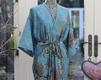 2ca47640038f Blue silk Kimono Robe