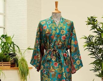 Earth Green Silk Blend kimono Robe, christmas gift, Dressing gown, Vintage kimono, Bridesmaid robes, robes for women, Bridal Robe, Maru