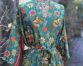 Silk Kimono Robe, Christmas gift, Dressing gown, Vintage silk kimono, Bridesmaid robes, Boho kimono, Bridal Robe, Kimono dress, Mango Moon