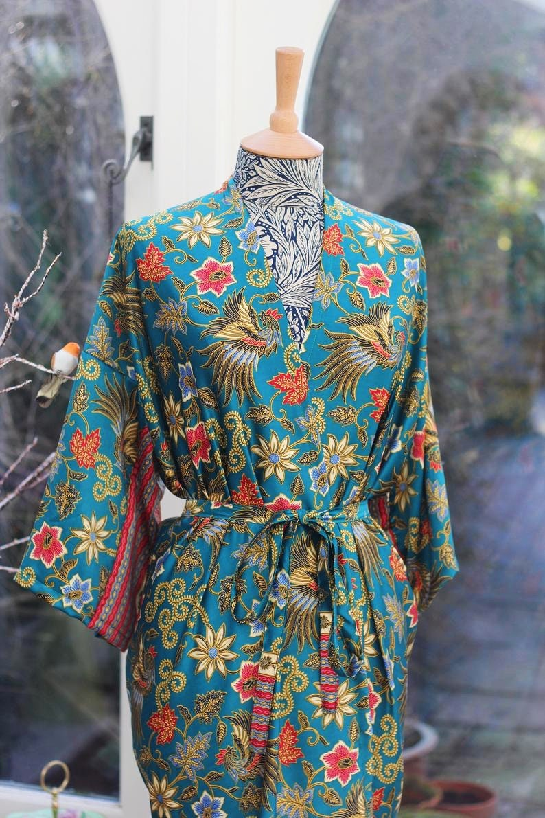 Long Silk Kimono Robe Mothers Day Dressing Gown Vintage Etsy