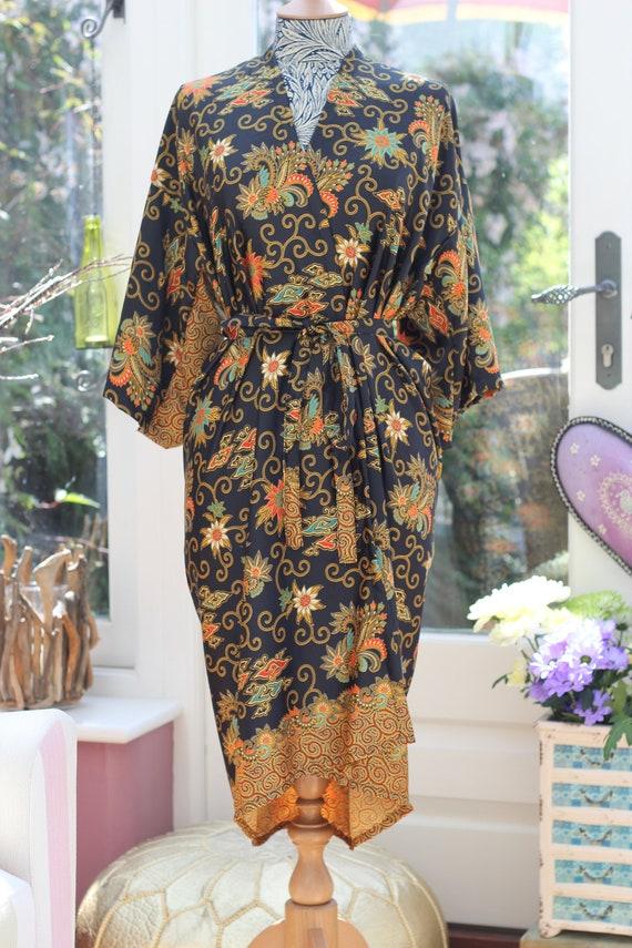 fad838048a Black Silk Kimono Robe long Mothers day gift Wholesale Silk
