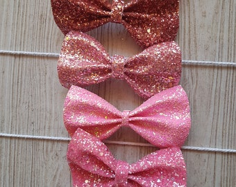 Chunky Pink Glitter Bow