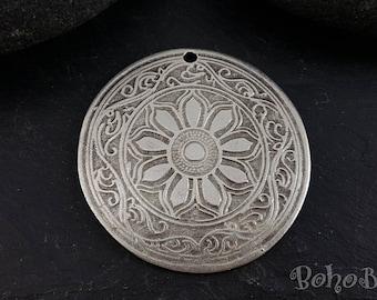 1 Pc, Large Disc Pendant, Round Pendant, Silver Plated, Mandala Necklace, Large Silver Pendant, Tribal Pendant, Ethnic, Tribal Jewelry