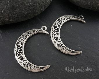 Tribal Jewelry Large Crescent Pendant Tribal Crescent Tribal Pendant Silver Crescent Silver Findings Moon Pendant