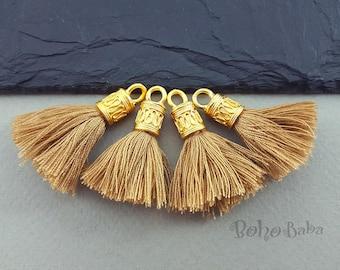 1Pc Black Mini Cotton Tassel Mini Tassels Mini Boho Tassel 22K Gold Plated Jewelry Tassel Bracelet Tassel Findings Earring Tassels