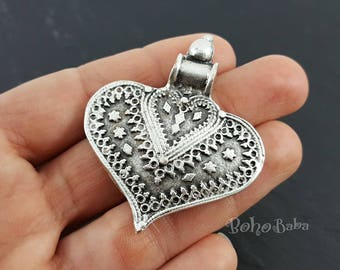 1pc large heart pendant silver heart tribal heart heart etsy 1pc silver heart tribal heart heart pendant ethnic heart pendant large heart pendant boho findings tribal jewelry tribal heart aloadofball Choice Image