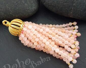 Matte 22K Gold Plated Oriental Tassel Cap Chartreuse Yellow Jade Beaded Tassel Beaded Tassel Gemstone Tassel Bohemian Jewelry