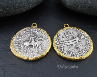 Greek Coin Medallion, Rustic Greek Pendant, Roman Coin Pendant, Silver Coin Pendant, Medallion Necklace, Large Coin, Gold Plated Jewelry