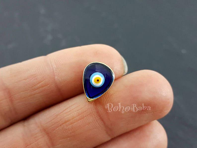 Evil Eye Spacer Beads Evil Eye Bracelet Oval Evil Eye Evil Eye Charms Mini Evil Eye Teardrop Evil Eye 2 pc Evil Eye Slider Beads