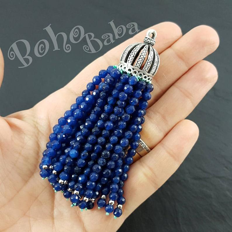 Gemstone Tassel Beaded Tassel Antique Silver Plated Oriental Tassel Cap Blue Jade Beaded Tassel Bohemian Jewelry